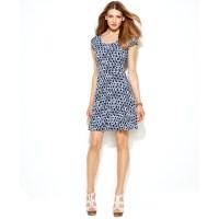 Michael Kors Petite Cap Sleeve Printed A-Line Dress in ...