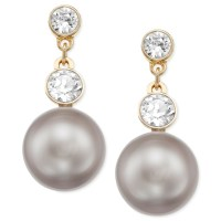 Swarovski Gold-Tone Glass Stone And Crystal Pearl Drop ...