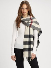 Burberry Half Mega Check Cashmere Scarf in Brown | Lyst