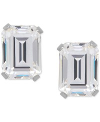 Macy's Cubic Zirconia Emerald-cut Stud Earrings In 14k ...