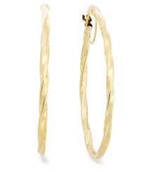 Macy's 14k Gold Earrings, Oval Twist Hoop Earrings in ...