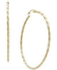 Macy's Twist Diamond Cut Hoop Earrings In 14k Gold in ...