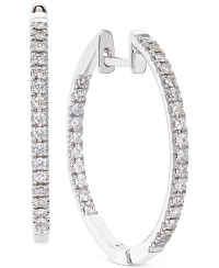 No vendor Diamond Hoop Earrings In 14k White Gold (1/2 Ct ...