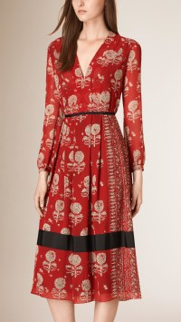 Lyst - Burberry Floral Print Silk A-line Dress in Red