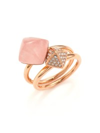 Lyst - Michael Kors Rose Quartz Pave Pyramid Ring Set in Pink