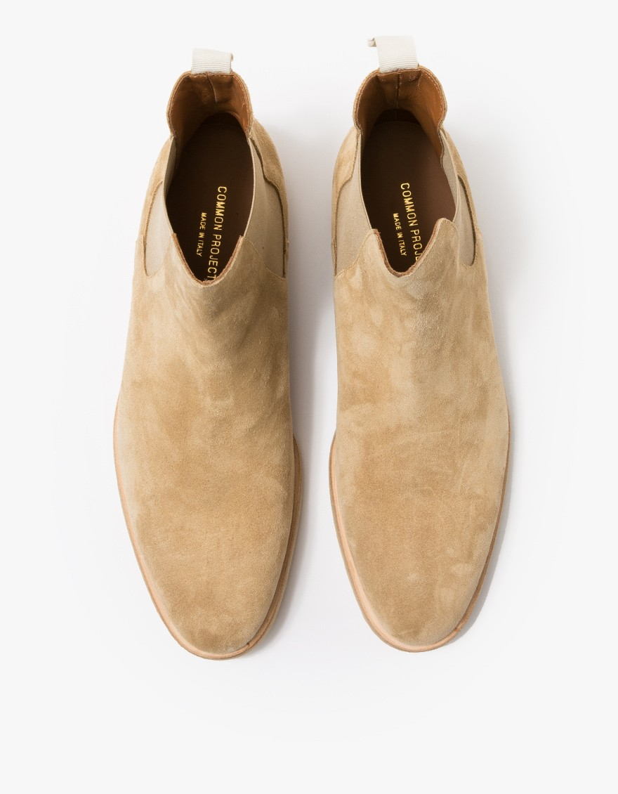 Hogan Mens Shoes Common Projects Suede Chelsea Boots In Natural For Men - Lyst