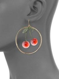 Alexis bittar Lucite Luna Crystal Cherry Hoop Earrings/2 ...