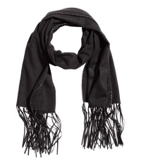 H&m Scarf With Fringes in Black | Lyst