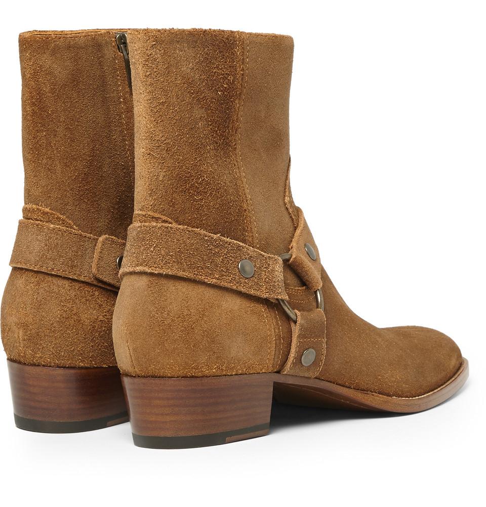 Saint Laurent Suede Harness Boots In Brown For Men Lyst