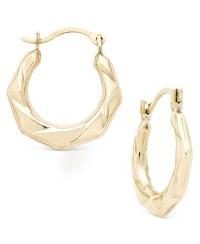 Macy's Hexagon Textured Hoop Earrings In 10k Gold in ...