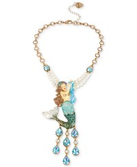 Betsey johnson Gold-tone Large Mermaid Pendant Necklace in ...