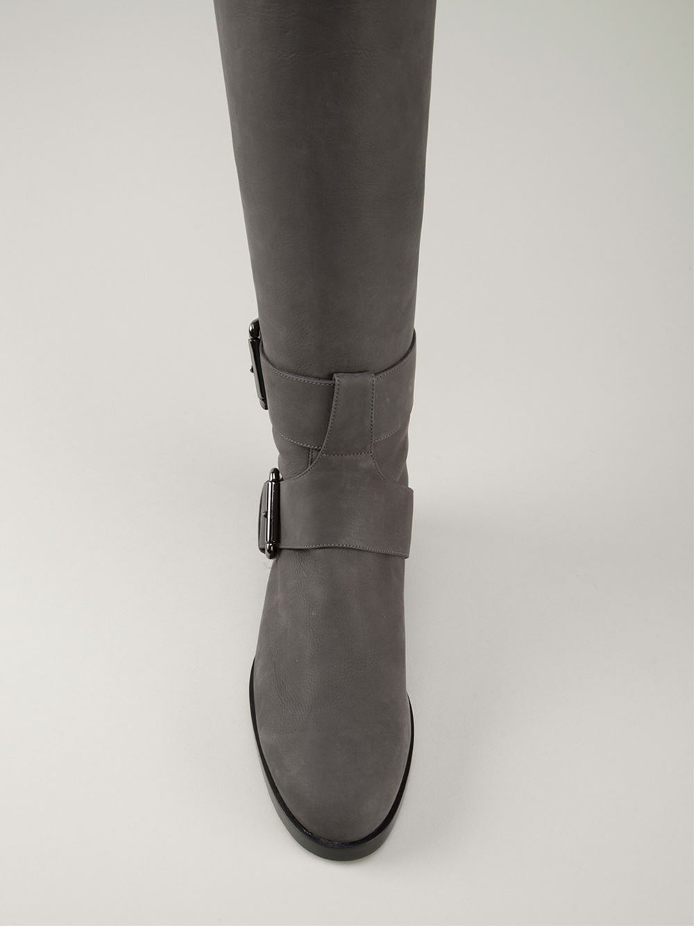 Forzieri Hogan Pierre Hardy Buckled Knee High Boots In Gray (grey) | Lyst