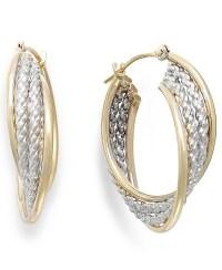 Macy's Two-tone Rope Hoop Earrings In 10k Gold in Metallic ...