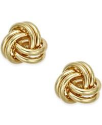 Macy's Love Knot Stud Earrings In 10k Gold in Gold (Yellow ...