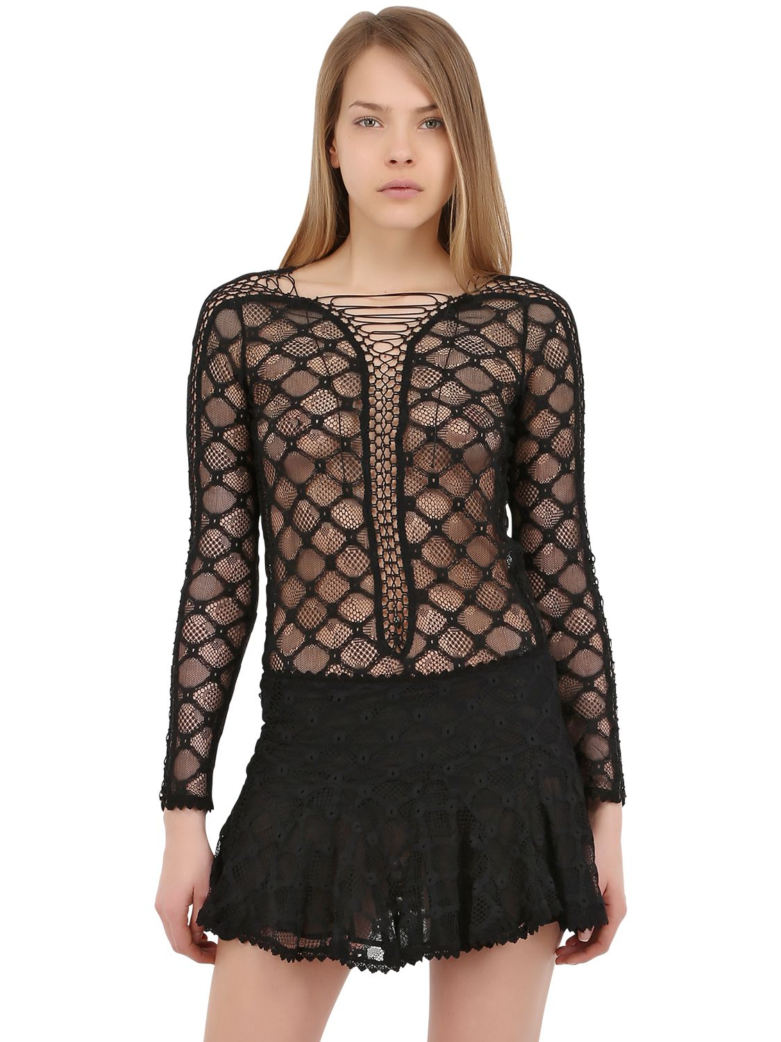 Isabel Marant Lyst Isabel Marant Lace Up Lace Long Sleeved Top In Black