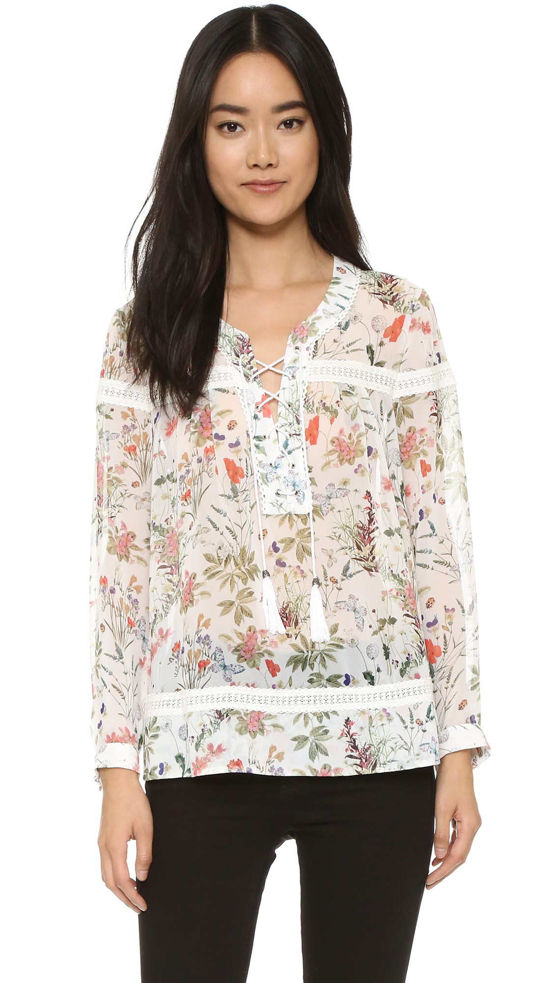 Botanic Soldes Lyst The Kooples Botanic Blouse In Natural