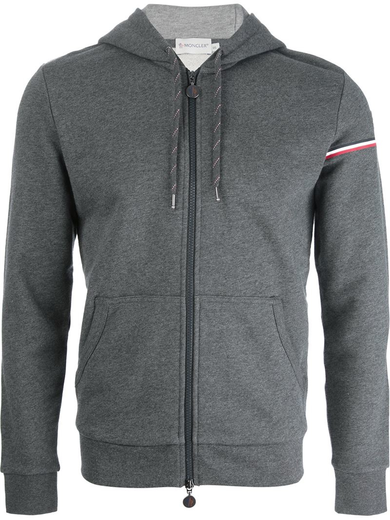 Pullover Hoodie Grey Lyst Moncler Zip Hoodie In Gray For Men