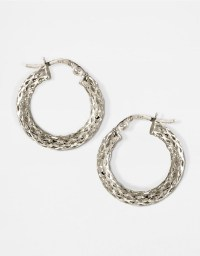Lyst - Lord & taylor 14k White Gold Textured Small Hoop ...