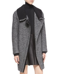 Vince Shawl Collar Asymmetric-zip Coat in Gray (BLACK/OFF ...