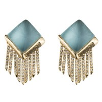 Alexis Bittar Lucite Fringe Pyramid Clip Earring in Blue ...