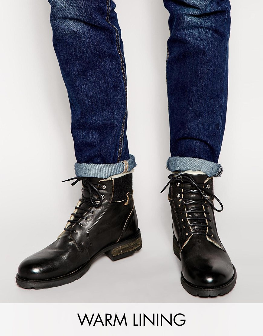 Lyst Asos Work Boots In Black Leather With Fleece Lining