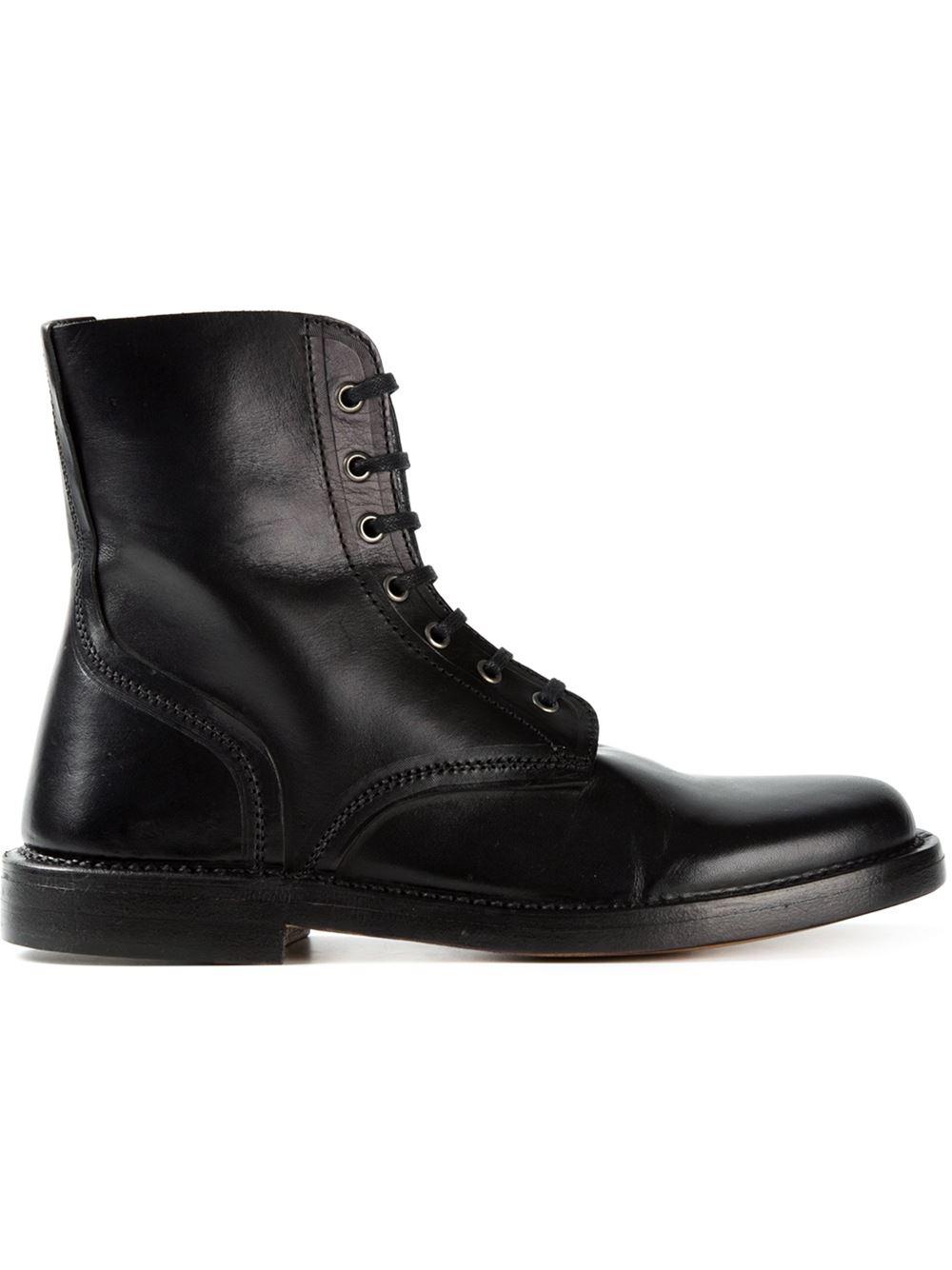 Alexander Mcqueen Lace Up Combat Boots In Black For Men Lyst