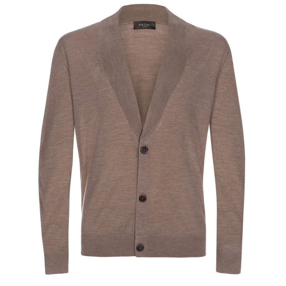 Merino Wool Shawl Collar Cardigan