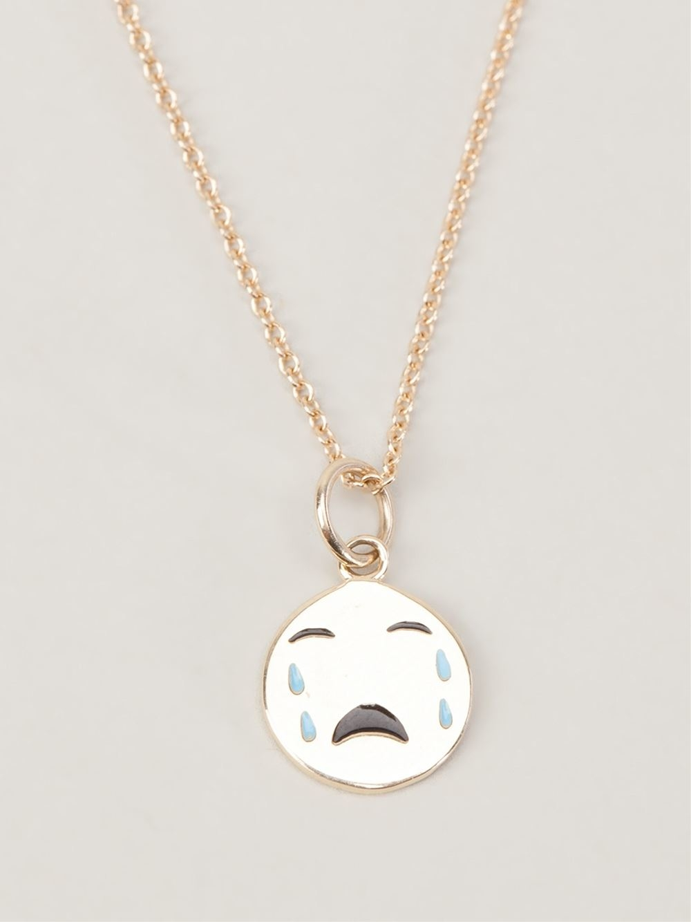 Alison Lou Small Cry Baby Necklace In Metallic Lyst