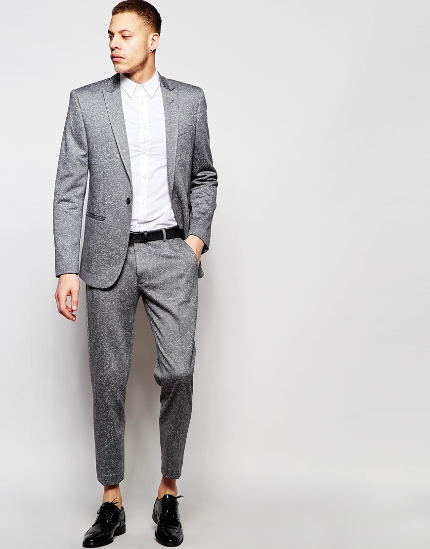 Grey Colour Formal Pant Asos Synthetic Skinny Cropped Suit Trousers In Grey Fleck