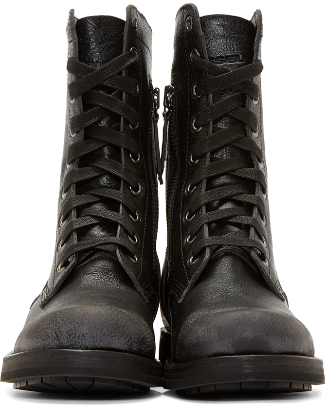 Lyst Diesel Black Leather D Komtop Combat Boots In Black
