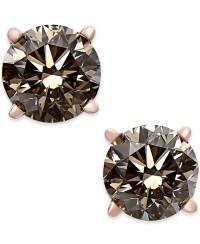 Lyst - Macy'S Brown Diamond Stud Earrings (1 Ct. T.w.) In ...