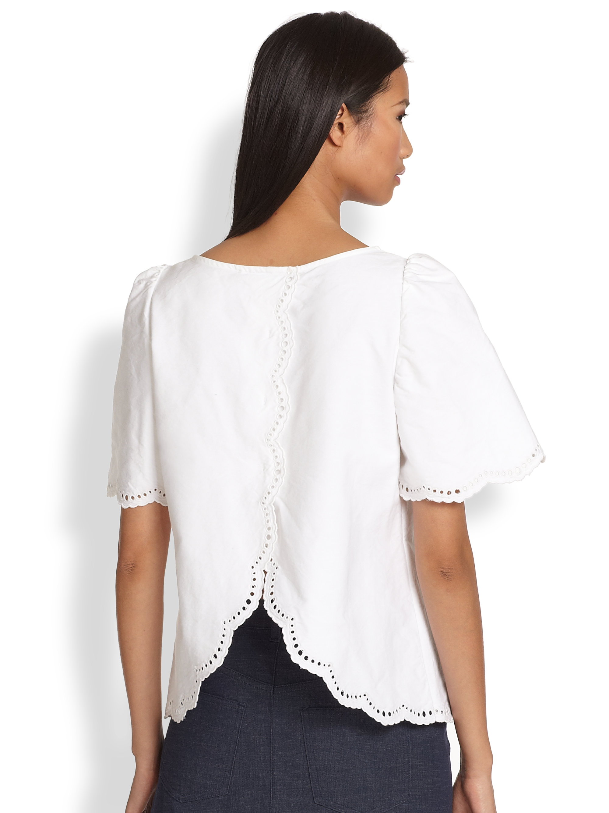 Split Wit Lyst A P C Splitback Scalloped Eyelet Cotton Blouse In