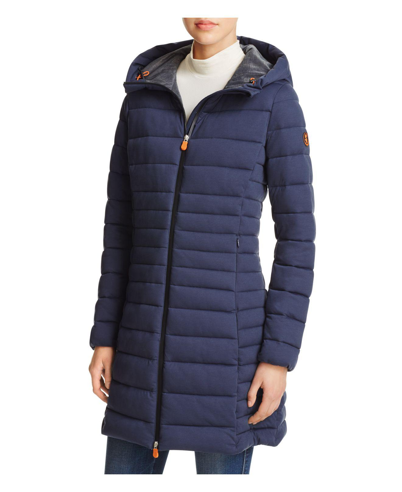 Lyst Save The Duck Angy Long Puffer Coat In Blue - Save The Duck