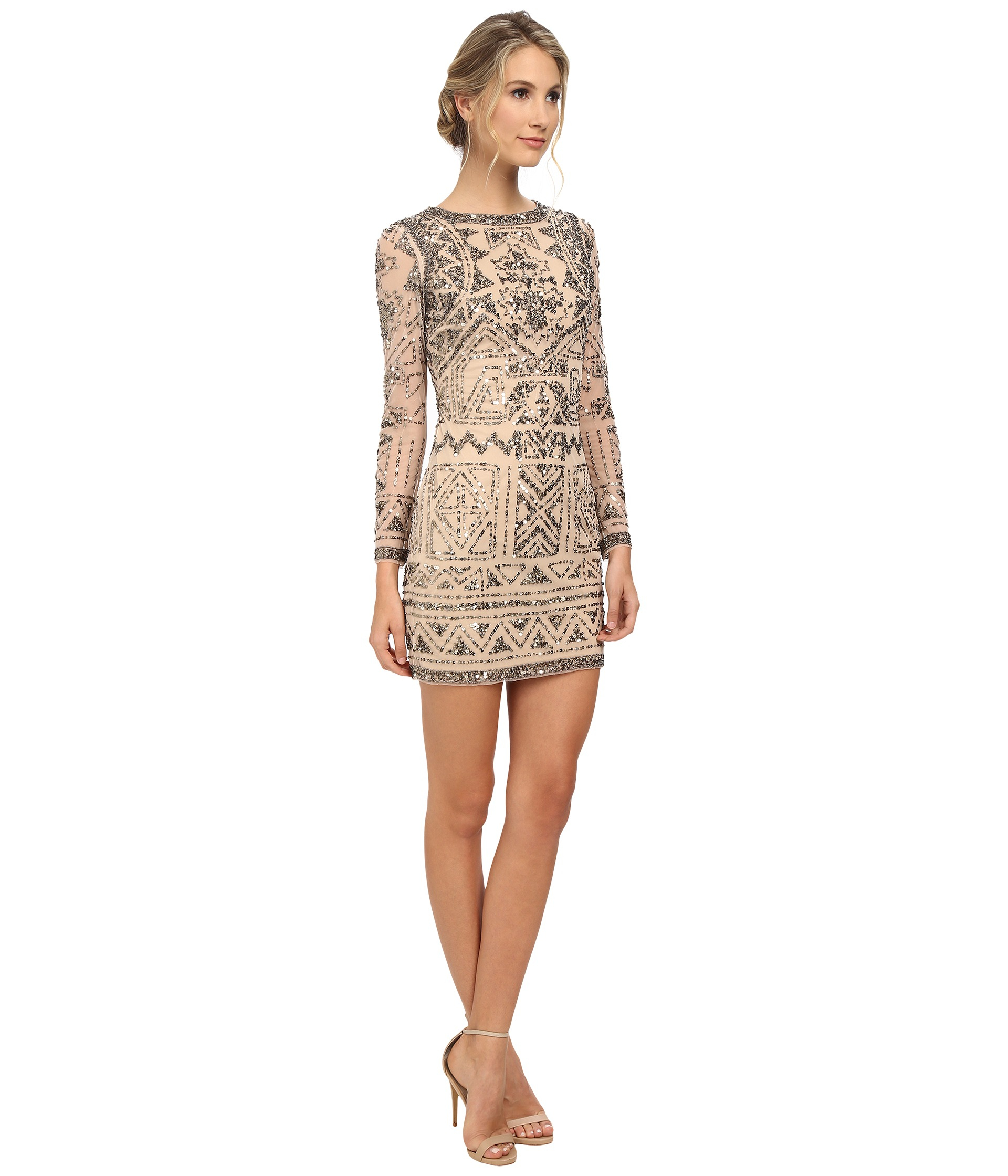 Grand Adrianna Papell Light Blush Long Sleeve Beaded Cocktail Dress Pink Product 0 126572708 Normal Long Sleeve Cocktail Dresses Madi Length Long Sleeve Cocktail Dresses Size 6 wedding dress Long Sleeve Cocktail Dresses