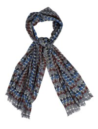 Yarnz Cashmere Flower Maze Print Scarf in Blue | Lyst