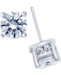 Macy's Diamond Stud Earrings (2 Ct. T.w.) In 14k White ...