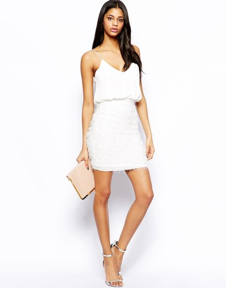 Tfnc Cami Dress with Fluffy Knit Skirt in White