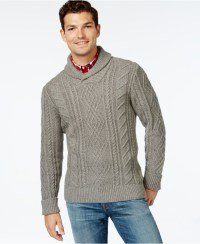 Lyst - Tommy Hilfiger Cooke Cabled Shawl-collar Sweater in ...