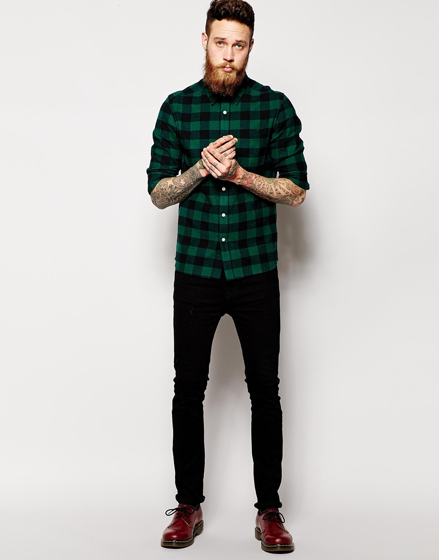 Camisas De Cuadros Hombres Asos Shirt In Long Sleeve With Brushed Buffalo Check In