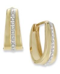 Macy's 14k Gold Earrings, Diamond Accent Oval Hoop ...