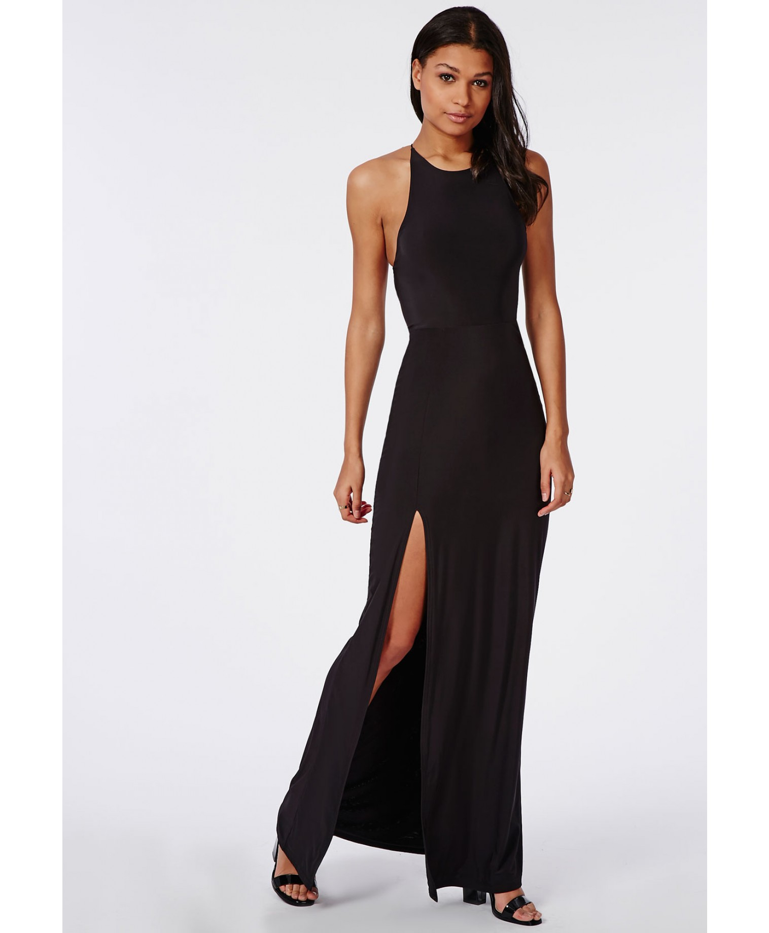 Split Wit Missguided Slinky Side Split Maxi Dress Black In Black Lyst