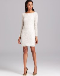 Aidan mattox Cocktail Dress Long Sleeve Sequin in White | Lyst