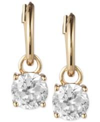 Anne klein Gold-tone Crystal Drop Hoop Earrings in ...
