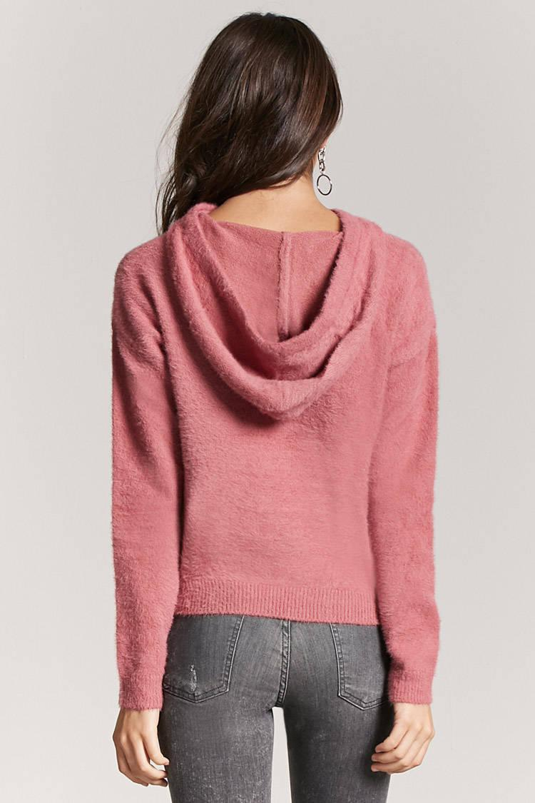 Sweater Hoodie Gap Forever 21 Synthetic Fuzzy Knit Hoodie In Mauve Purple