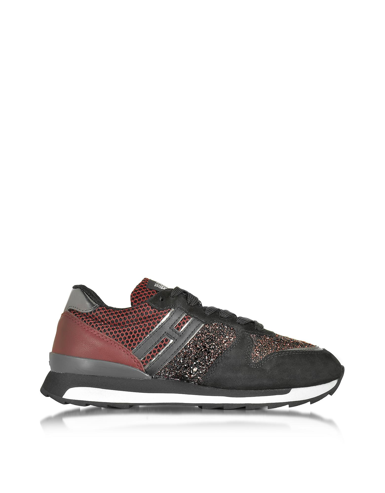 Forzieri Hogan Lyst Hogan Rebel Running R261 Black And Burgundy Suede