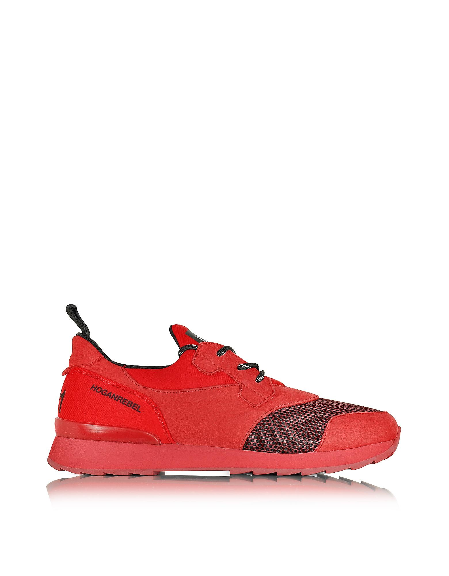 Forzieri Hogan Lyst Hogan Rebel Running R261 Red Nubuck And Neoprene