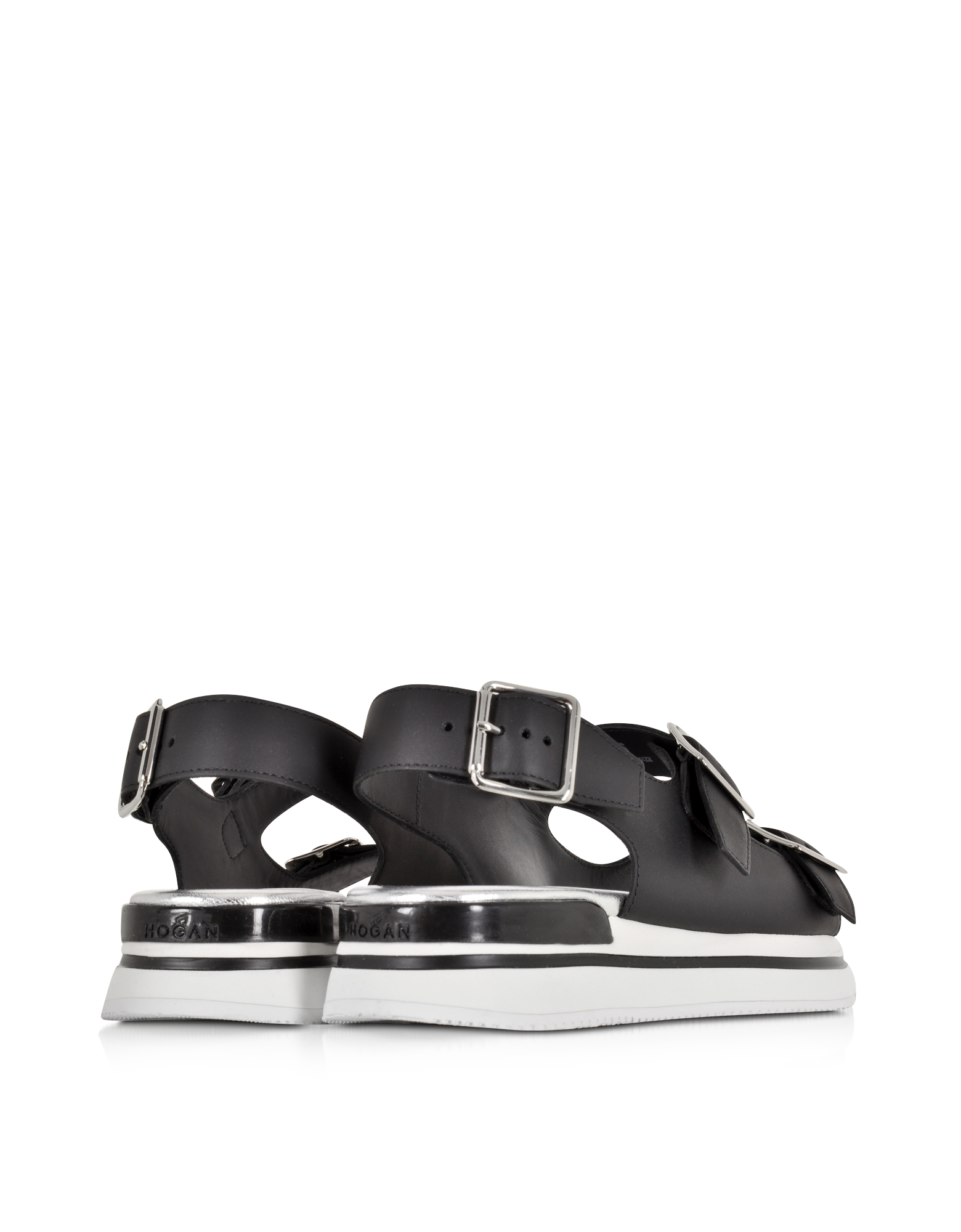 Forzieri Hogan Hogan Black Leather Sandal In Black Lyst