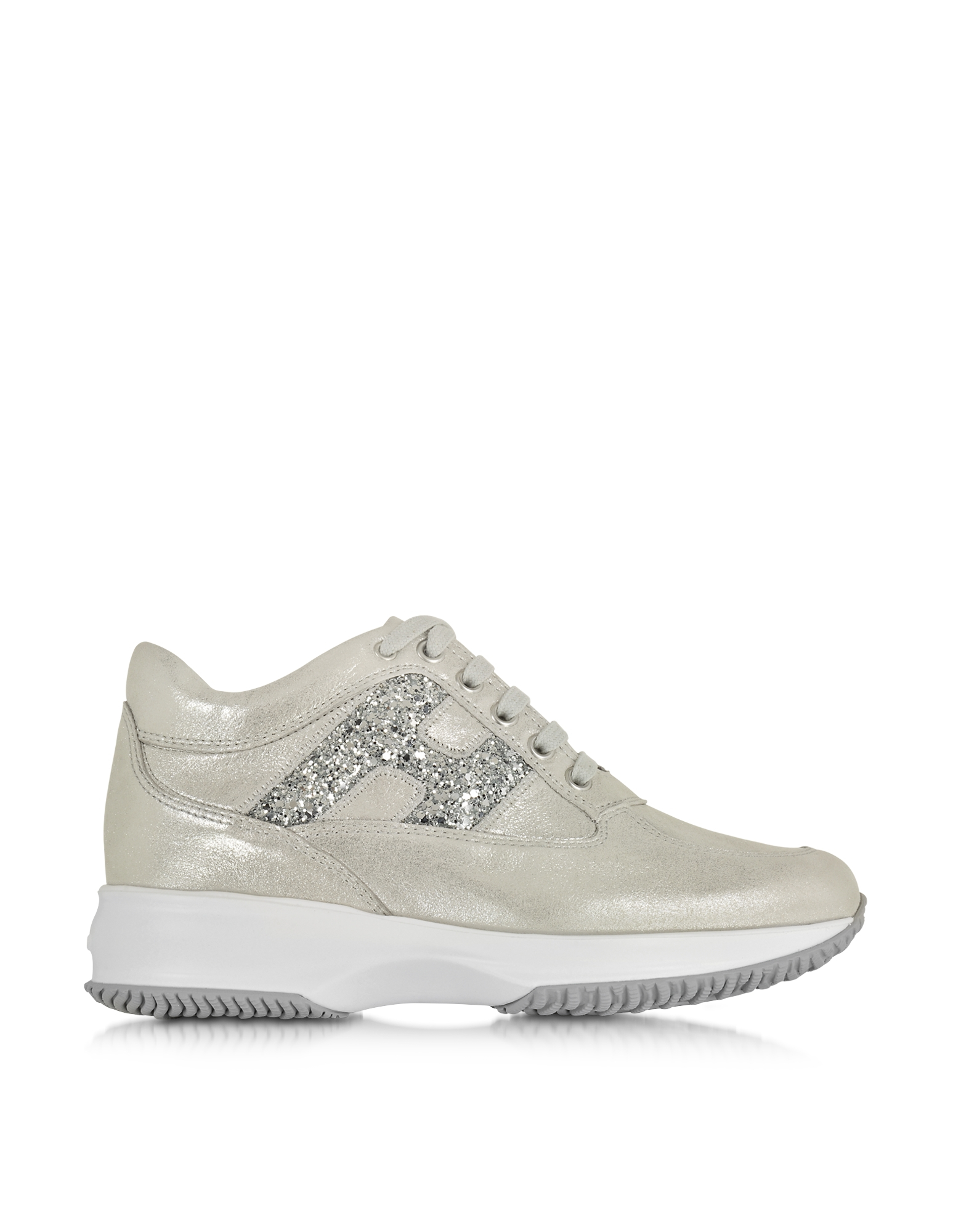 Forzieri Hogan Hogan Silver Suede And Glitter Wedge Sneaker In Metallic Lyst