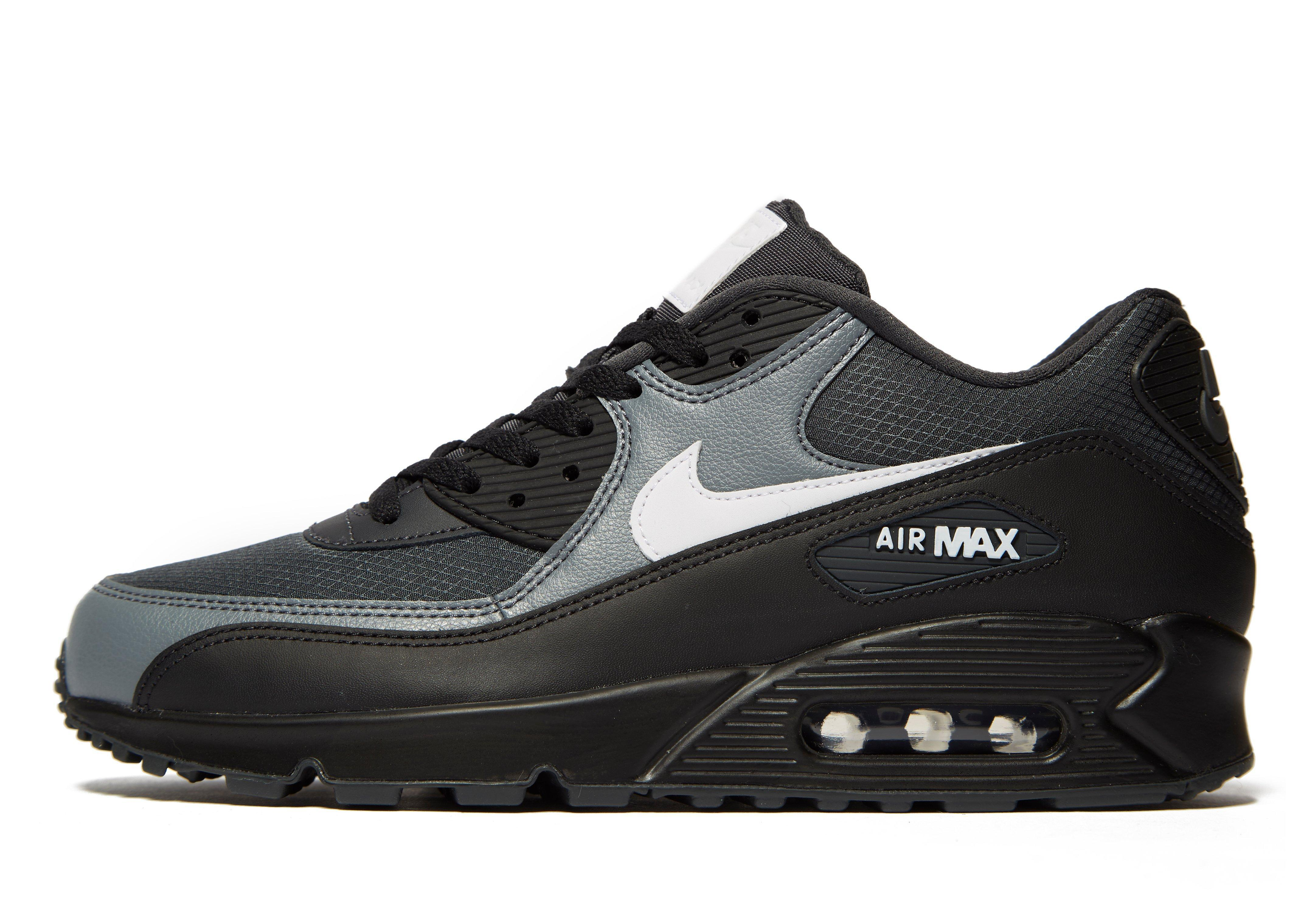 Nike Leather Air Max 90 Essential In Black Grey Black