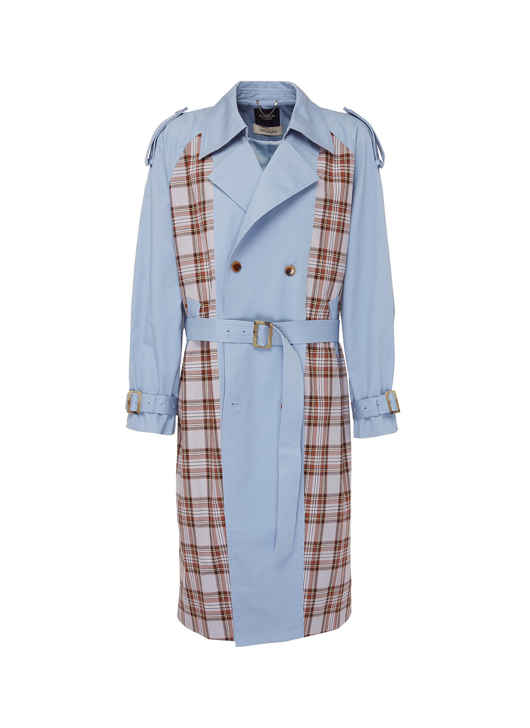 Plaid Lin Junwei Lin Belted Tartan Plaid Panel Unisex Twill Trench Coat In